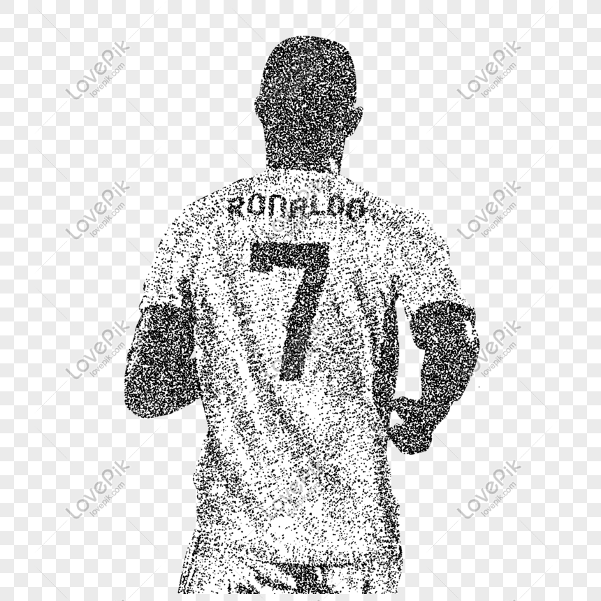 Creative hand drawn soccer star particle player png