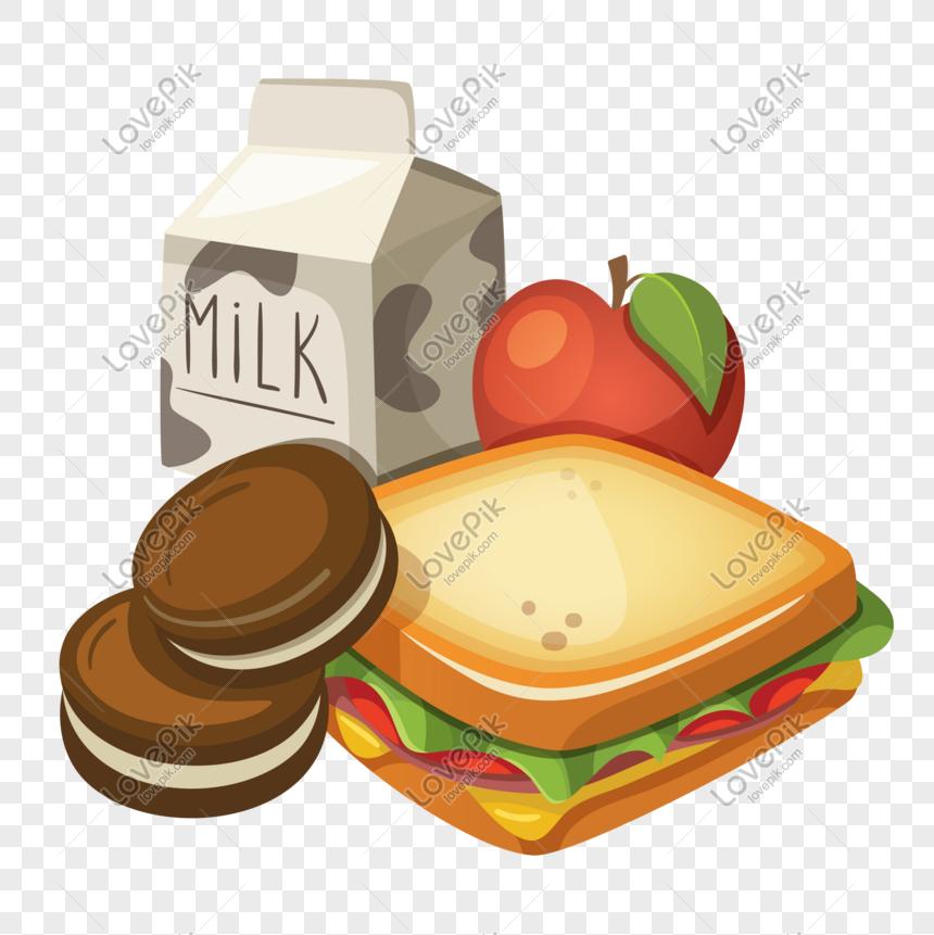 Dibujos Animados Estudiante Verano Nutrición Desayuno Imagen