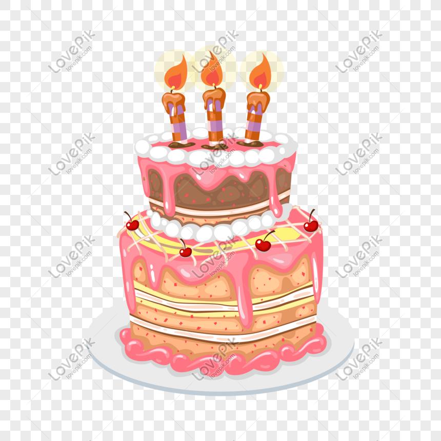 Kartun Kue Ulang Tahun Strawberry Cream Digambar Tangan