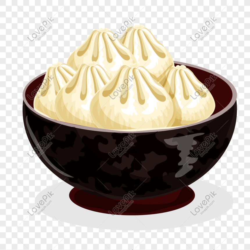 cartoon hand painted pasta buns png