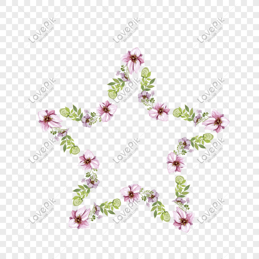 矢量卡通扁平化粉色花卉邊框 png
