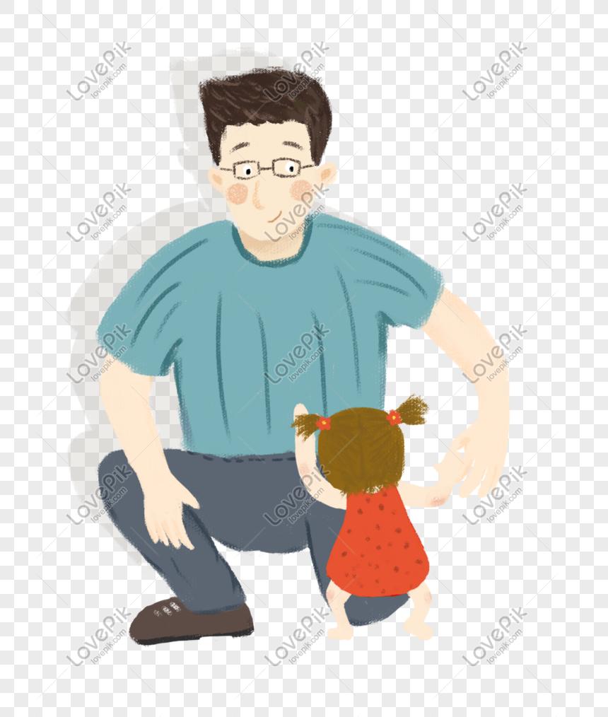 Kartun Panas Bapa Dan Anak Perempuan Ilustrasi Ringkas