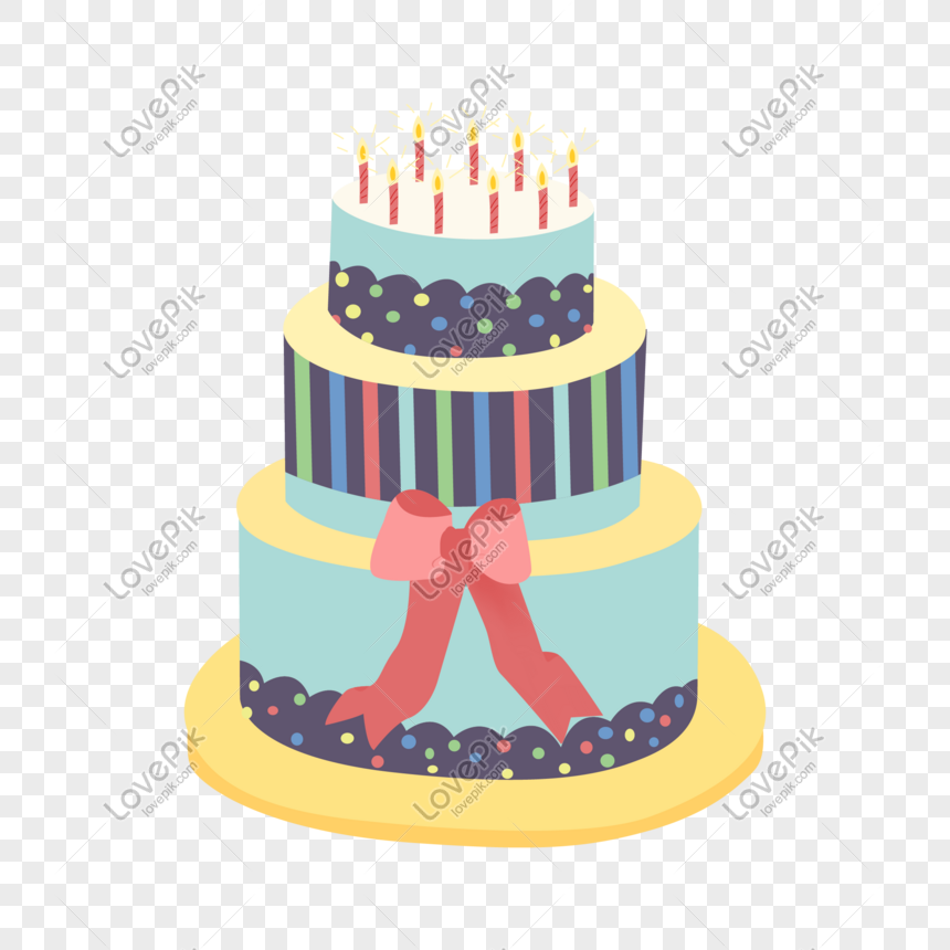 Cartoon Hand Drawn Anniversary Birthday Cake