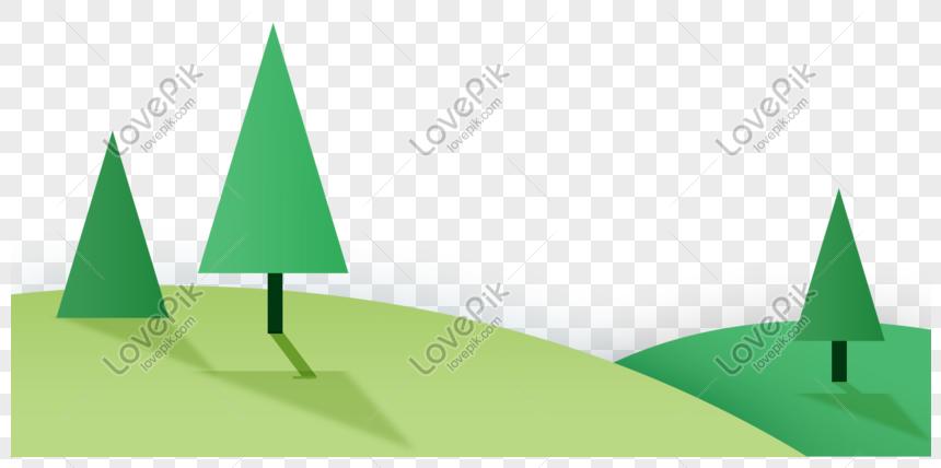 Desenhos Animados Mao Desenhada Prado Arvores Verdes Imagem