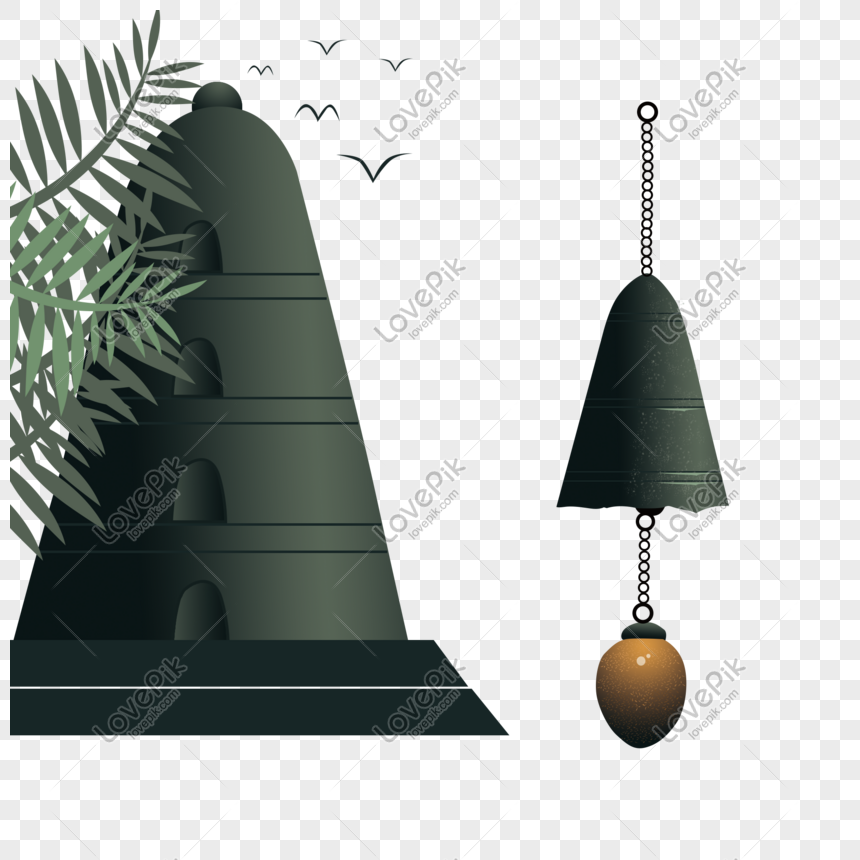 wind chime pagoda wind chime hand drawn png