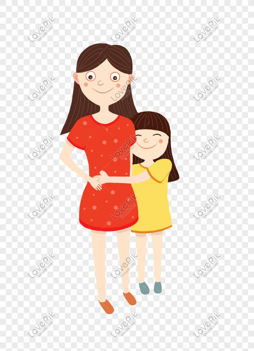 Reka Bentuk Kartun Ibu Dan Anak Perempuan Yang Hangat Gambar