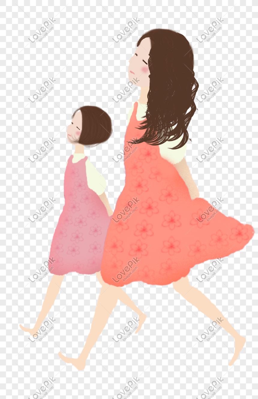 Kartun Ibu Dan Anak Yang Kreatif Dan Bahagia PNG Grafik