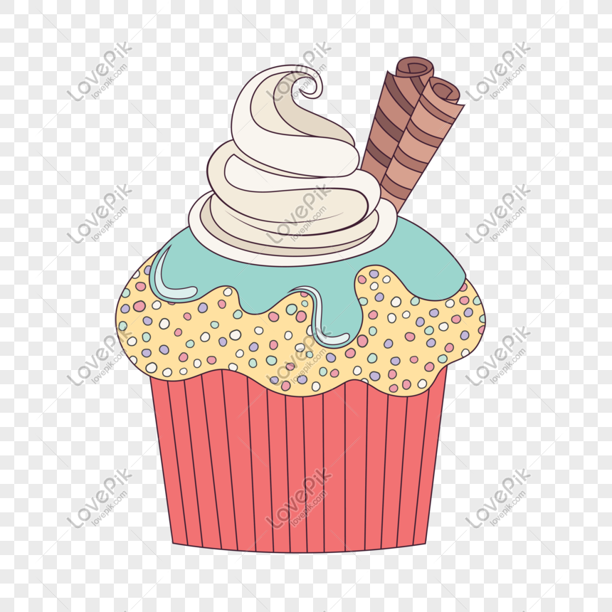 Cupcake De Crema De Cumpleaños De Dibujos Animados Imagen