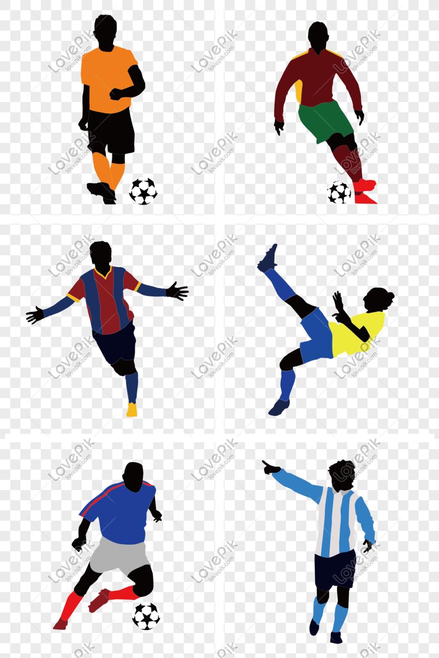 Kartun Pemain Sepak Bola Yang Dilukis Dengan Tangan Berwarna