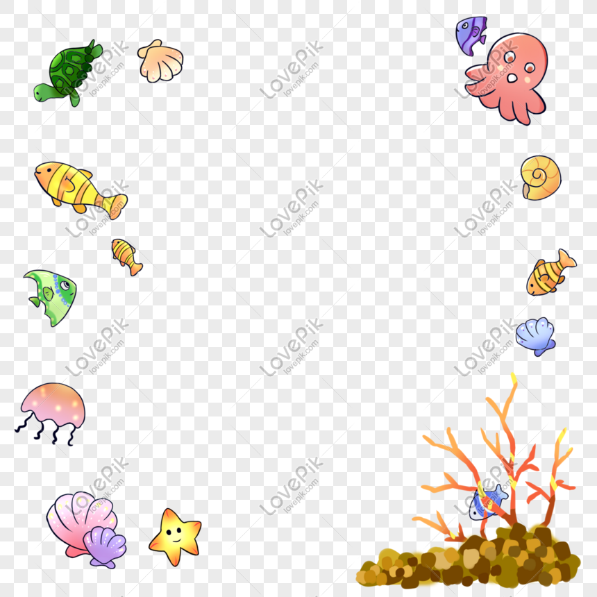 Lukisan Hiasan Hidupan Laut Marin Ilustrasi Gambar Unduh Gratis Imej 610841995 Format Psd My Lovepik Com