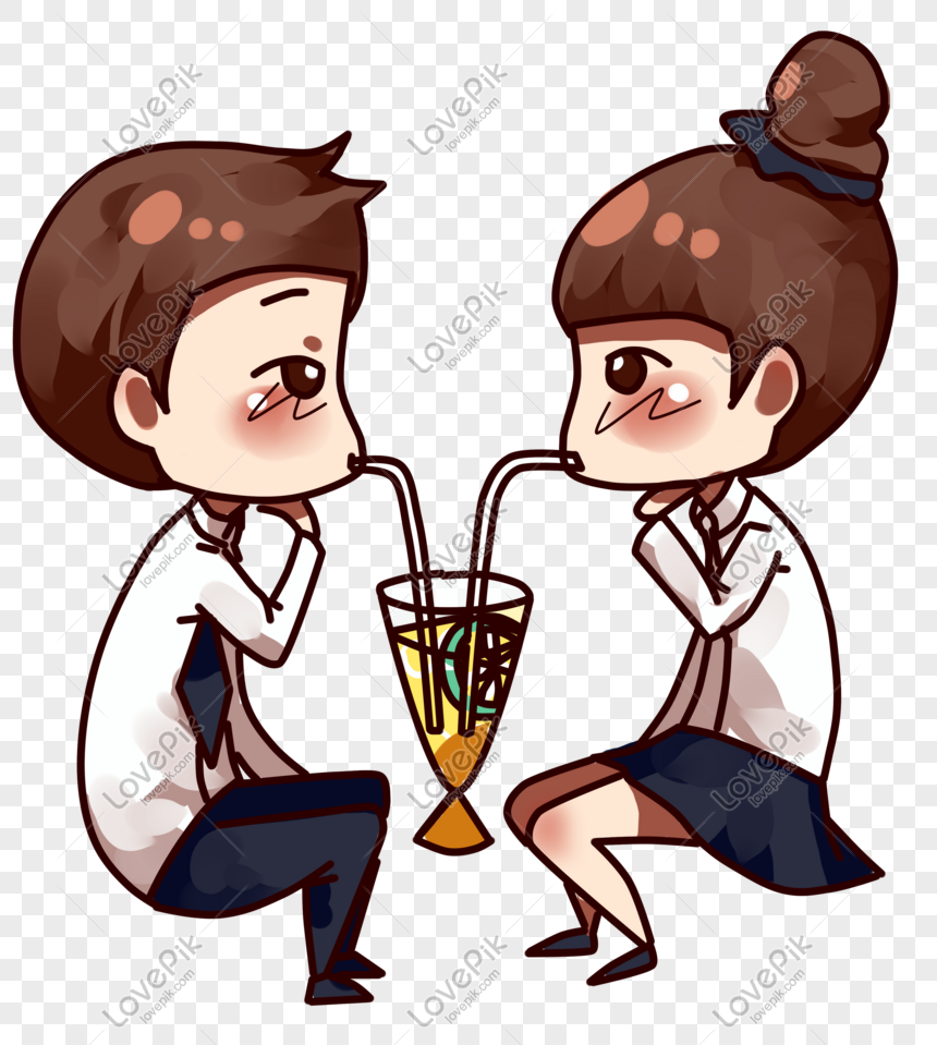 Kartun Kencan Pasangan Hari Valentine Gambar Unduh