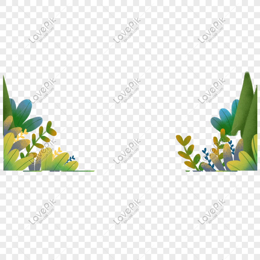 hand drawn vector green plants png