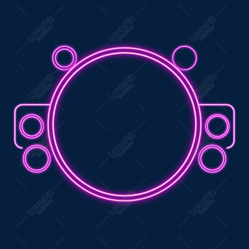 purple neon round combination border png