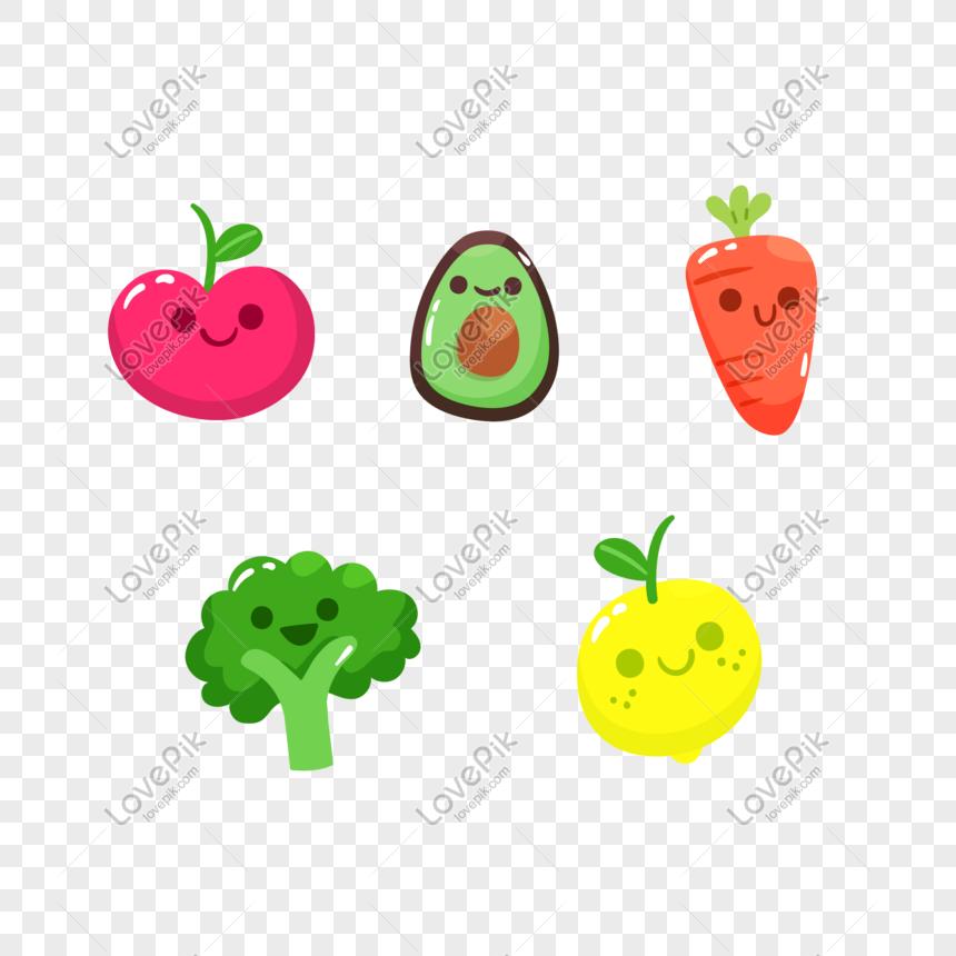 5 Elementos De Vector De Verduras De Dibujos Animados Imagen