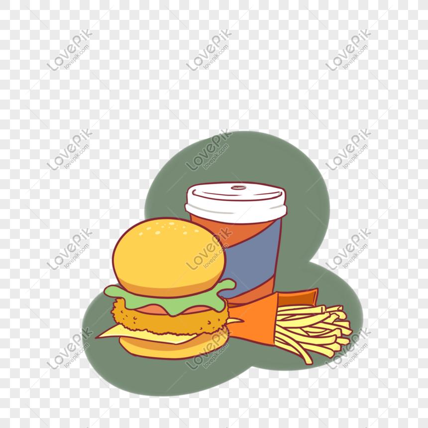 Hamburguesa De Comida Rapida Occidental Fritas Cola Ilustracion