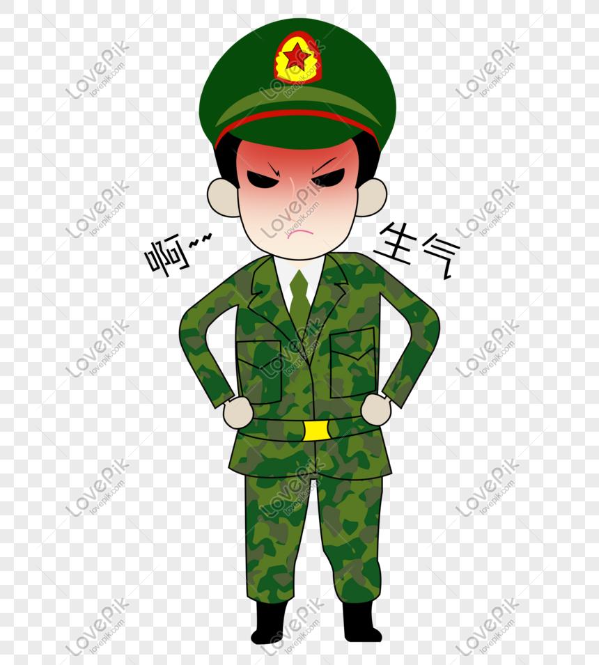 Kartun Tangan Ditarik Orang Militer Pak Ekspresi Marah PNG