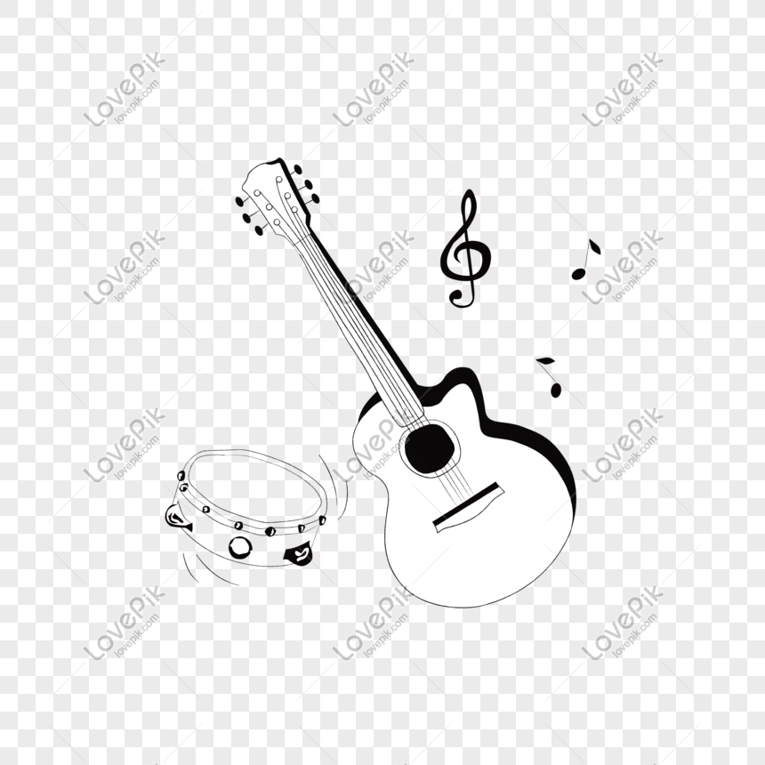Hand-painted guitar drum folk music png image_picture free