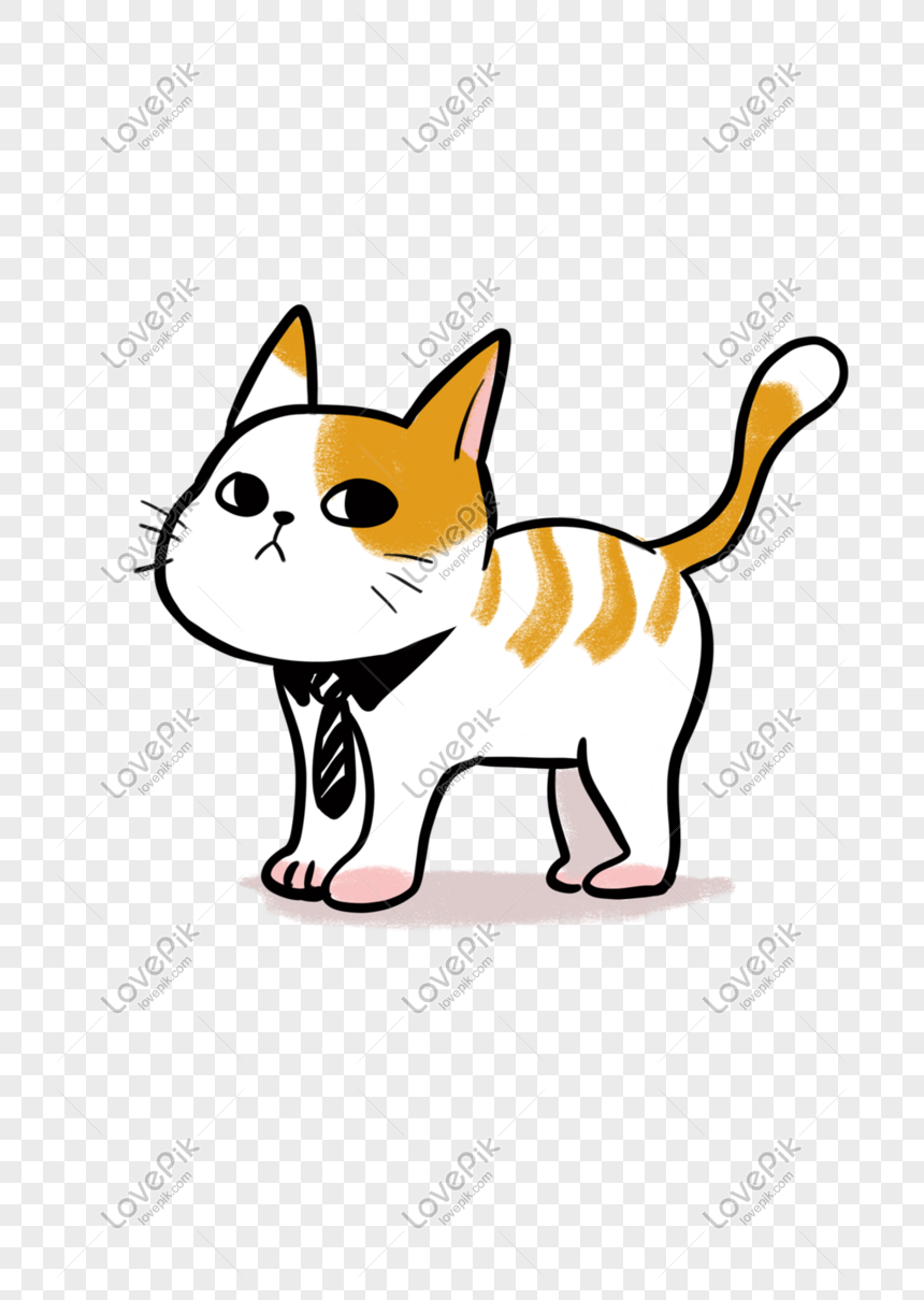 Cute Kitten Print Hand Drawing Png Image Picture Free