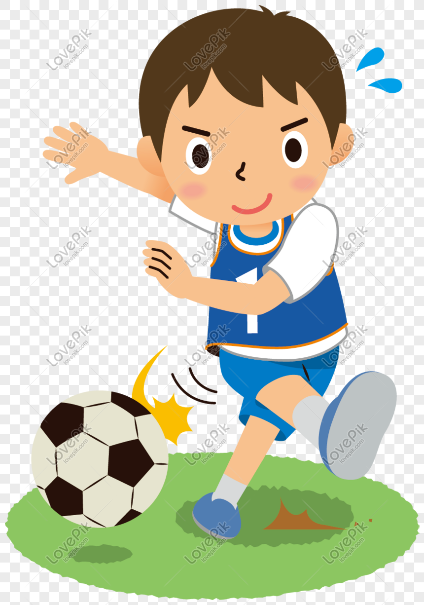 Anak Kecil Yang Lucu Bermain Sepak Bola Png Grafik Gambar ...