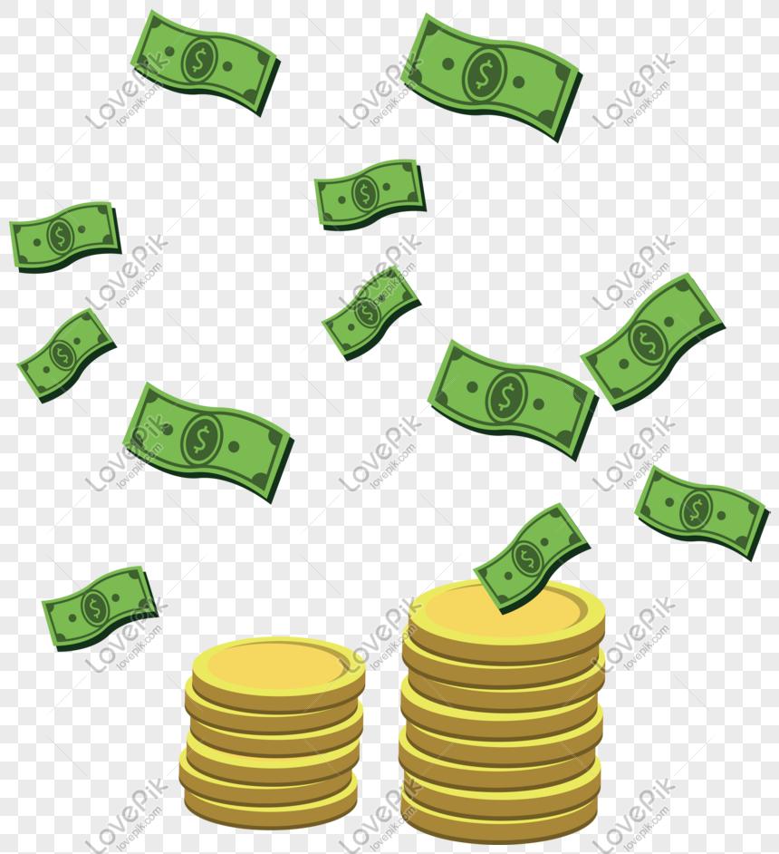 Ilustrasi Uang Kertas Koin Emas Png PNG Grafik Gambar Unduh Gratis