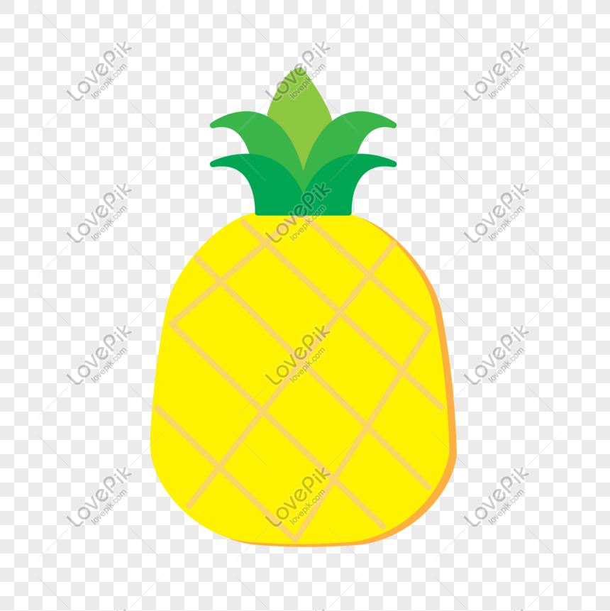 Fruta De Verao Vector Abacaxi Amarelo De Desenho Animado Imagem