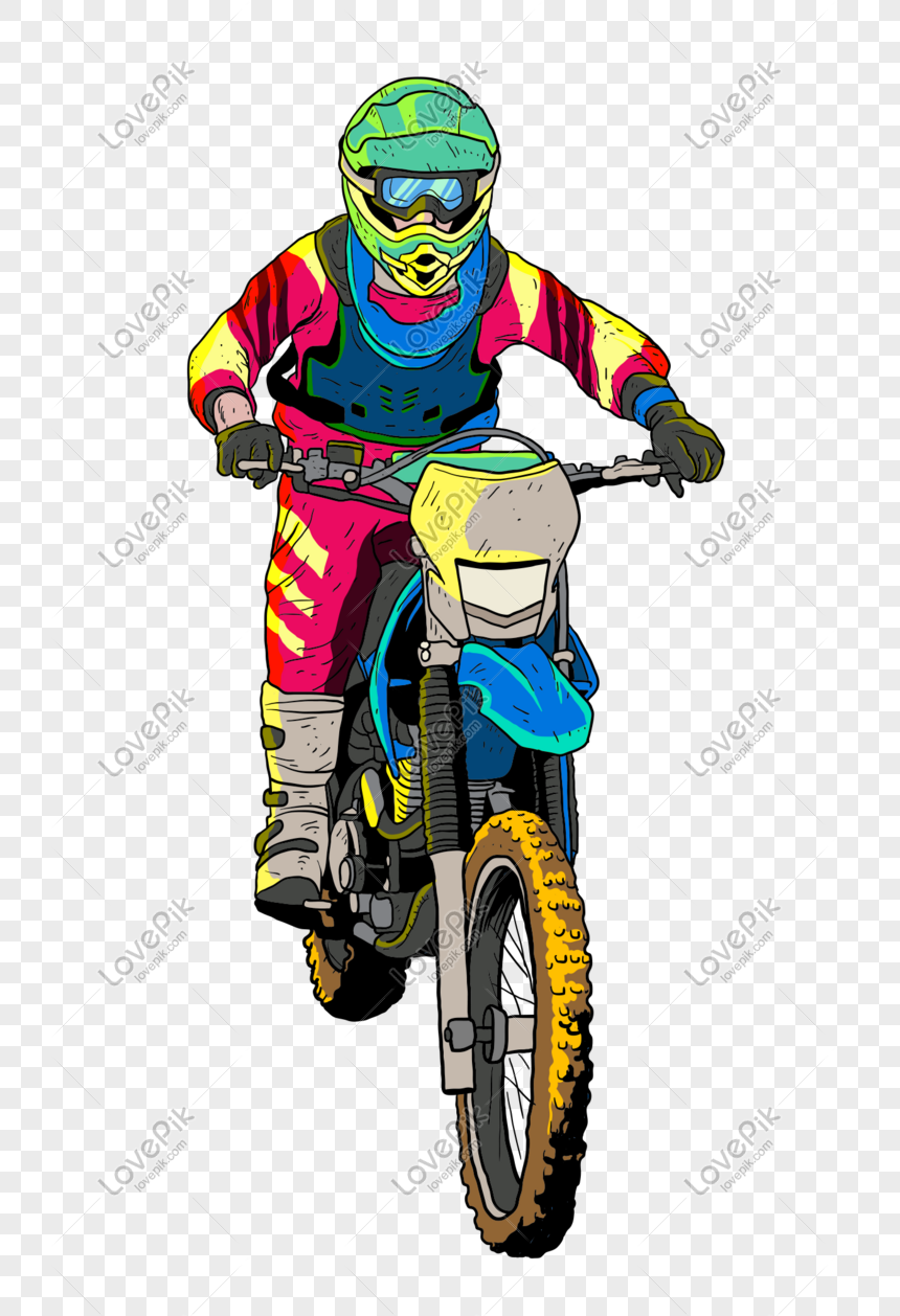Vector Cartoon Hand Drawn Motorcycle Racer Png Image Picture