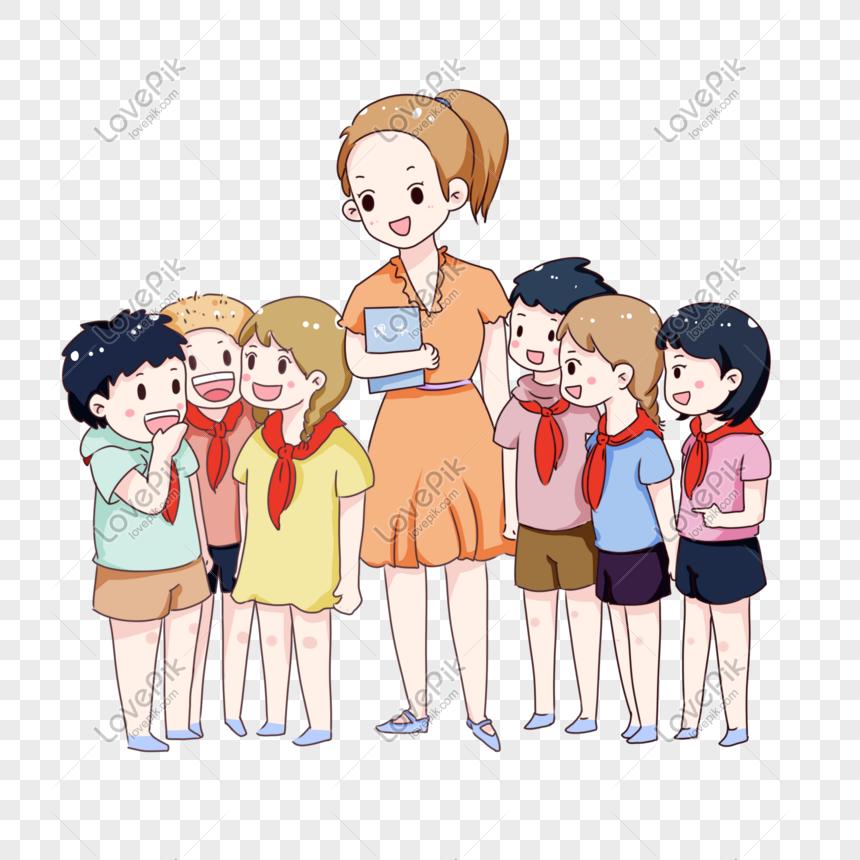 Guru Dan Murid Hari Guru Kartun Yang Digambar Tangan Png Grafik Gambar Unduh Gratis Lovepik