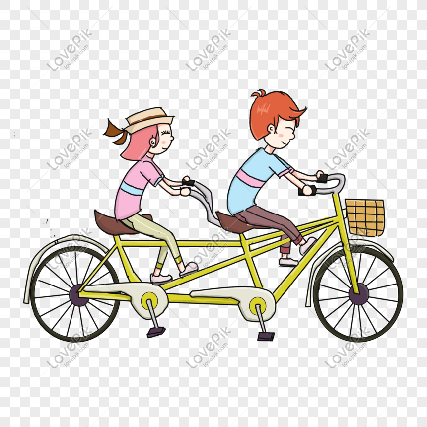 Hand Drawn Couple Riding Bicycle Illustration Png Image Picture Free Download 610962802 Lovepik Com