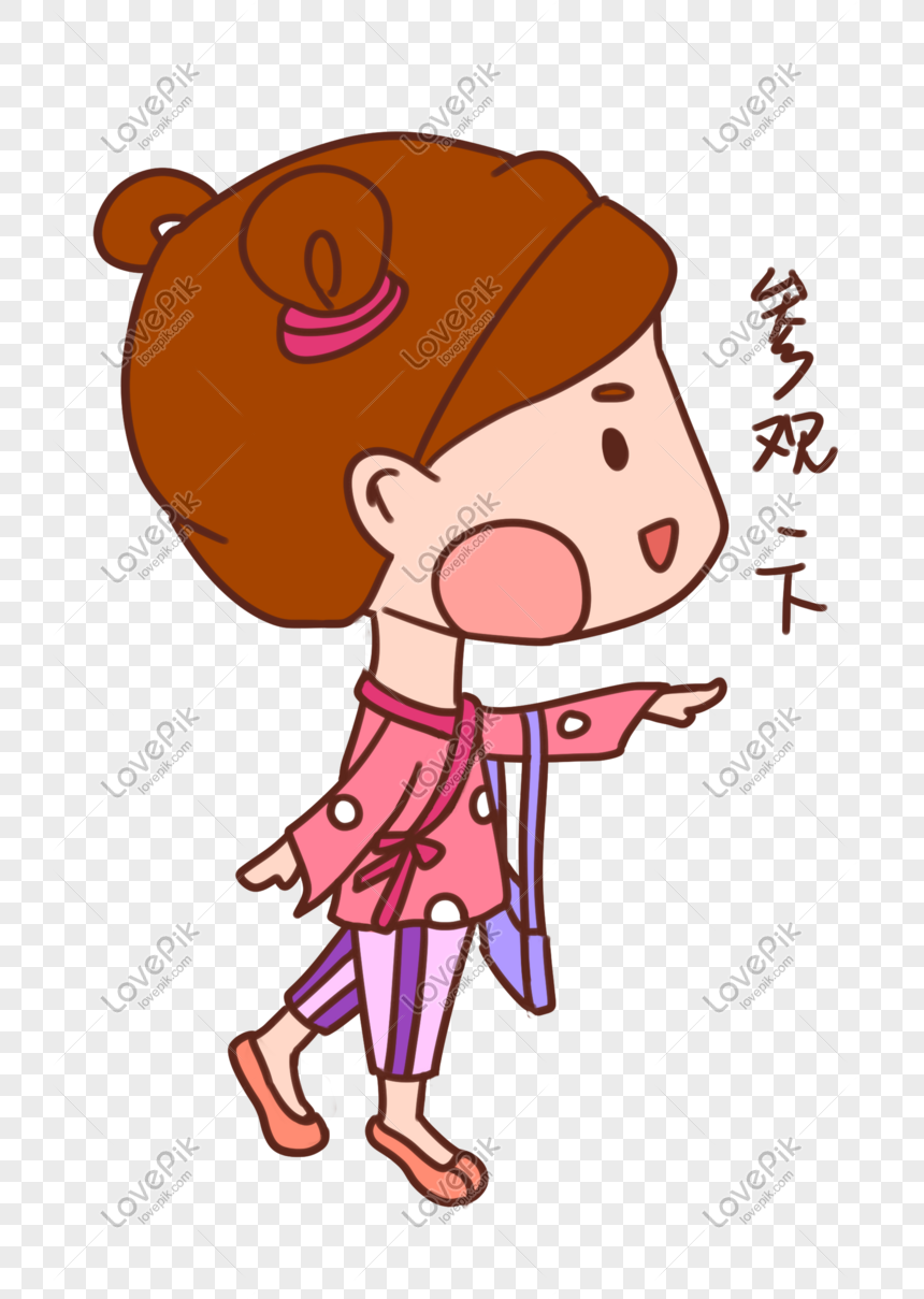 Gadis Imut Kartun Yang Digambar Tangan Mengunjungi Paket