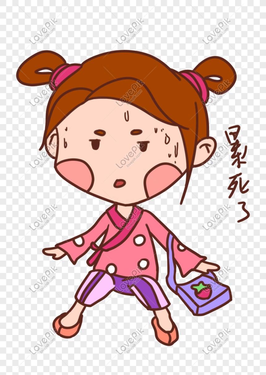 Tangan Ditarik Kartun Gadis Cantik Pak Ekspresi Lelah PNG