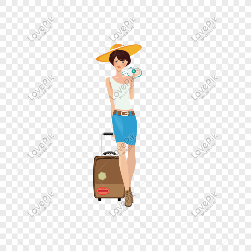 Mulher De Estilo Cartoon Usando Chapeu Puxando Mala Imagem
