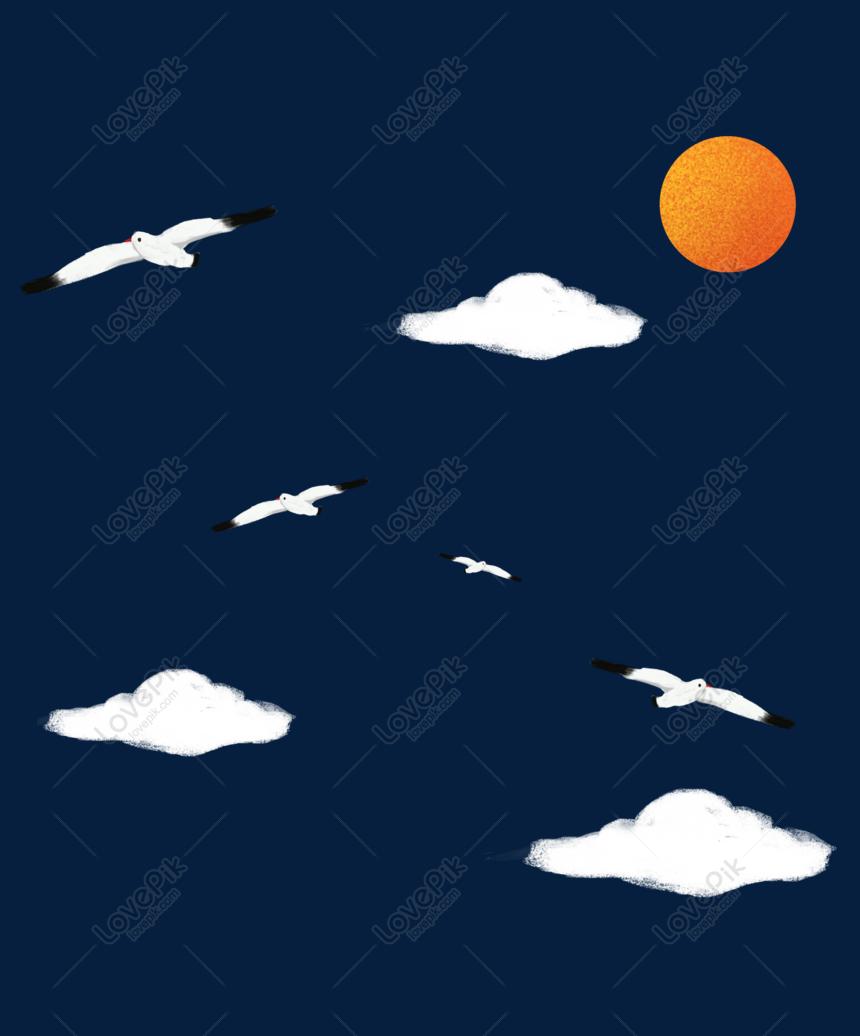 Unduhan Awan Putih Burung Camar Yang Digambar Tangan PNG