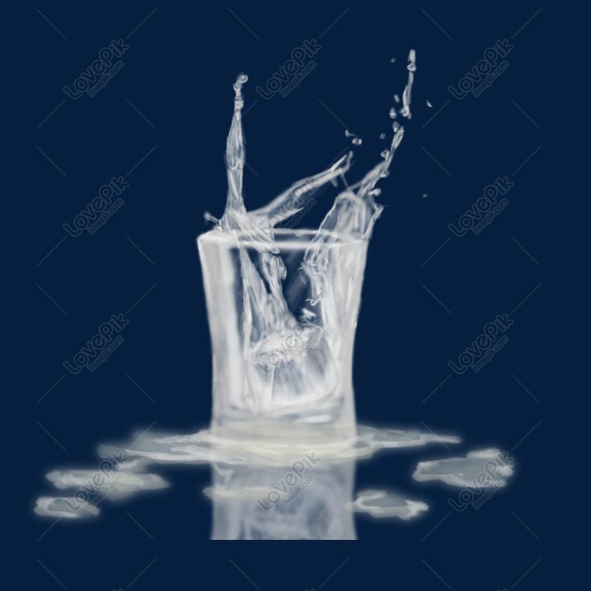 Dibujado A Mano Salpicaduras De Un Vaso De Agua Con Hielo Imagen