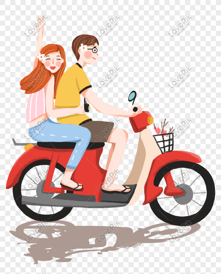 Hand Drawn Bike Dating Couple Png Image Picture