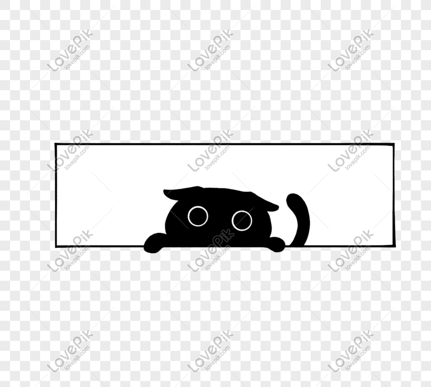 Aircraft Ear Lop Ear Black Cat Black And White Simple Cartoon An