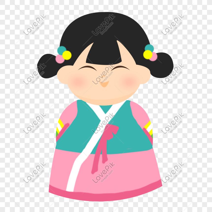 Korea Hanbok Korea Gadis Tangan Yang Ditarik Ilustrasi Psd Gambar Unduh Gratis Imej 611010566 Format Psd My Lovepik Com