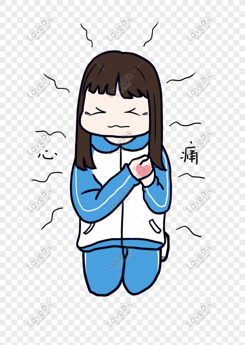 Gadis Sekolah Kartun Karakter Gambar Paket Ekspresi Sakit