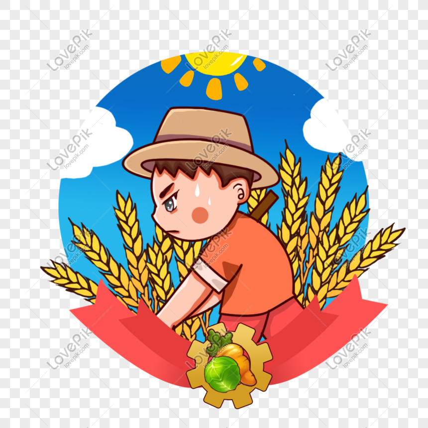 A Farmer Using A Rake To Plow The Field   Yellow hat, Cartoon clip art,  Blue jumper