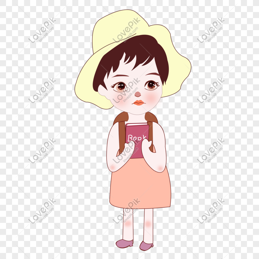 Photo De Petite Fille Illustration Png Portant Un Sac