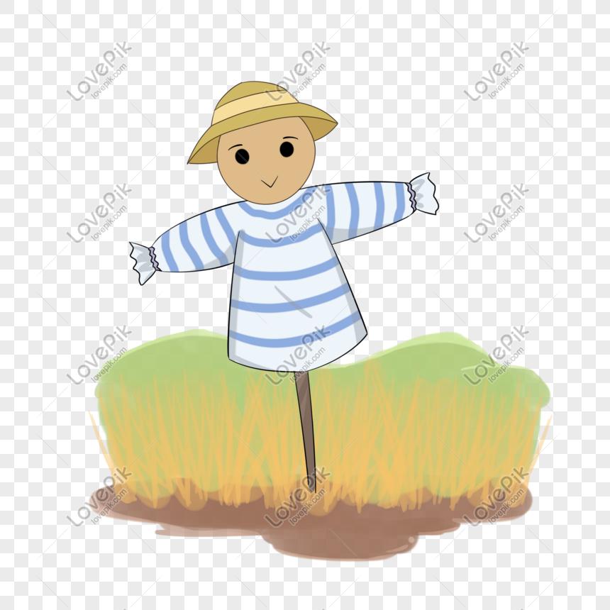 Sonbahar Tema Buğday Alan Korkuluk Karikatür çizimi Resimgrafik