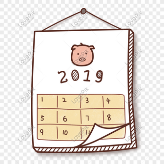 Calendario De Desenhos Animados De Porco Ano Imagem Gratis Modelos
