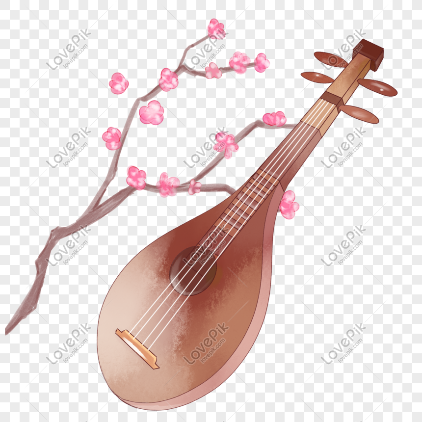 ancient style theme guqin hand drawn illustration png
