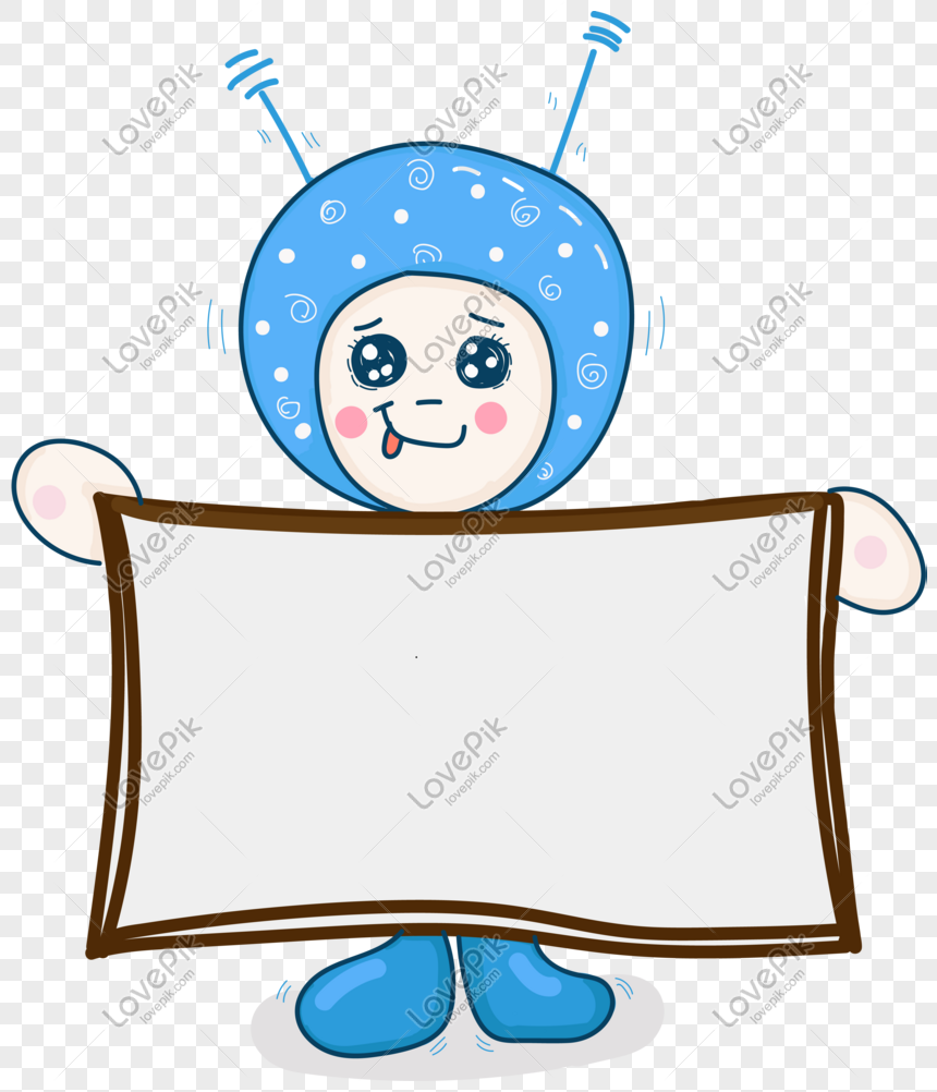 Tech Cute Cartoon Hand Drawn Doll Text Box Png Image Picture