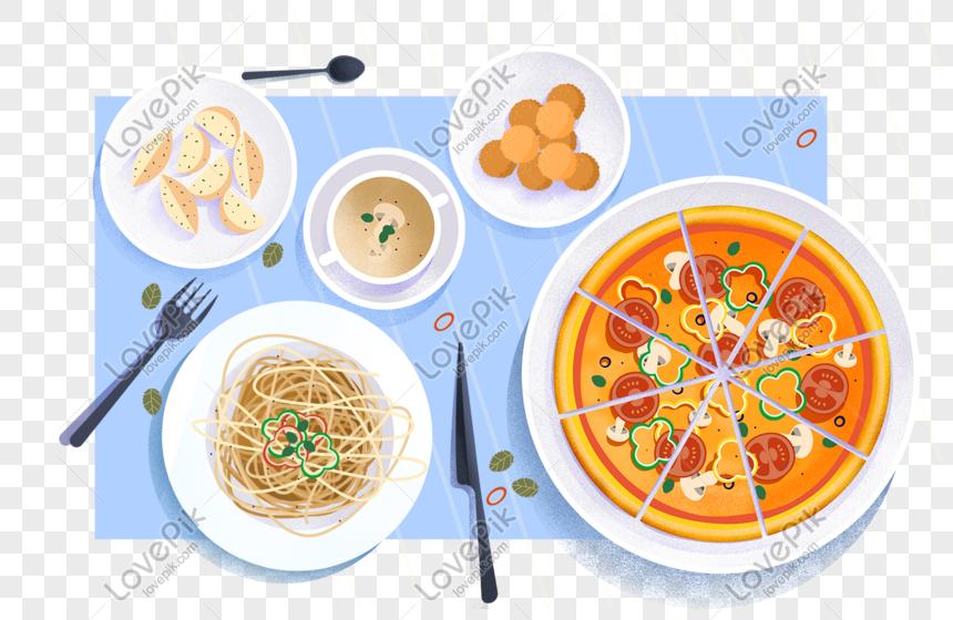 Reka Bentuk Ilustrasi Makanan Makanan Barat Untuk Iklan Makanan