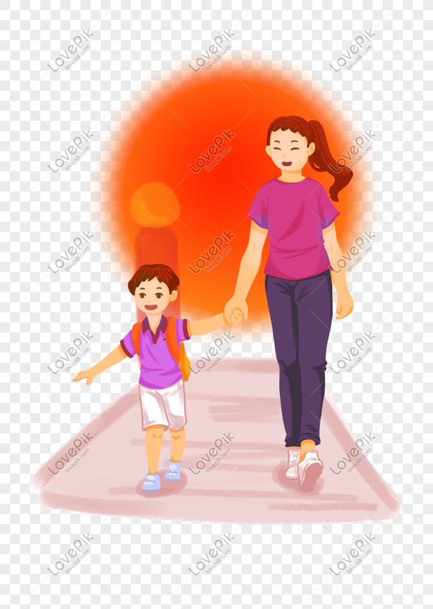 Cartoon Sunset Mother Picks Up Children Home Thousands Of