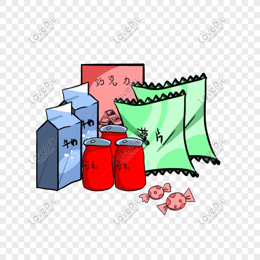 Ilustracion De Paquete Pequeno De Bocadillos Dibujados A Mano De