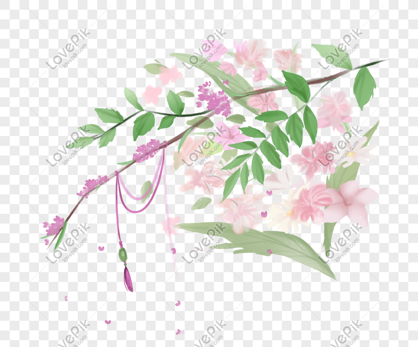 ancient style theme flowers hand drawn illustration png