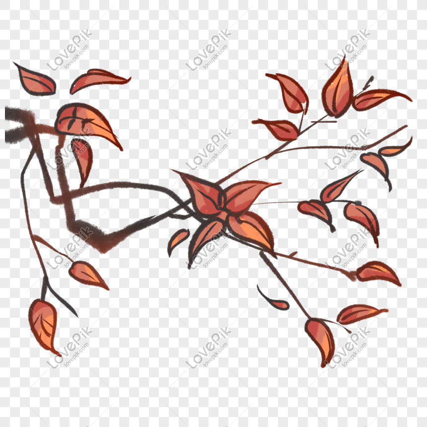 ancient style theme branches hand drawn illustration png