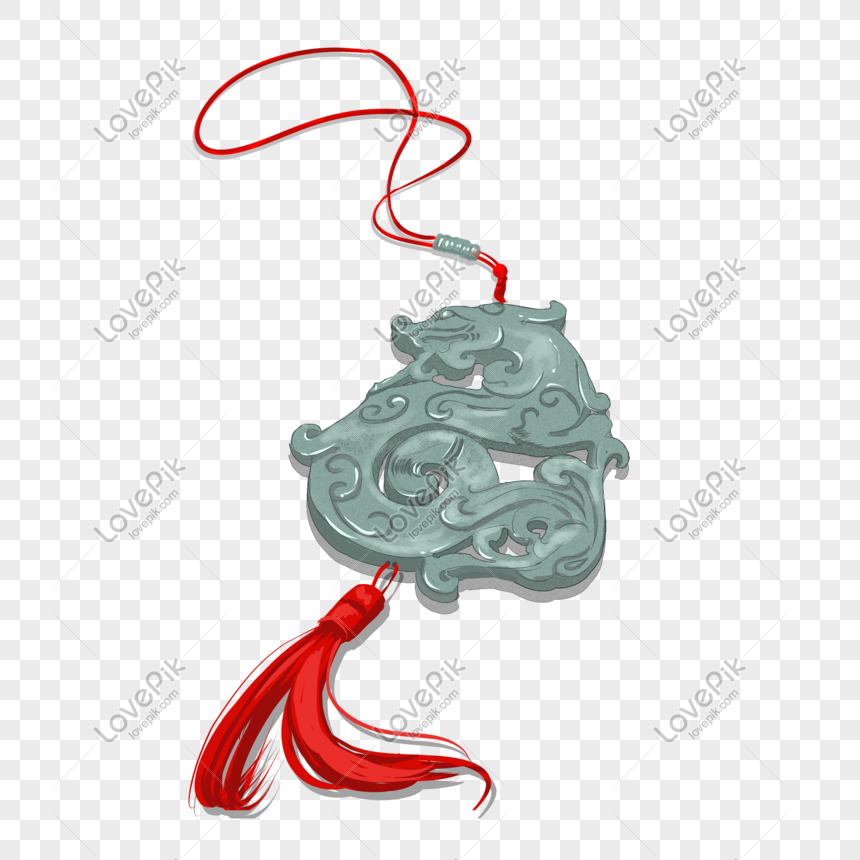 ancient style theme jade hand drawn illustration png