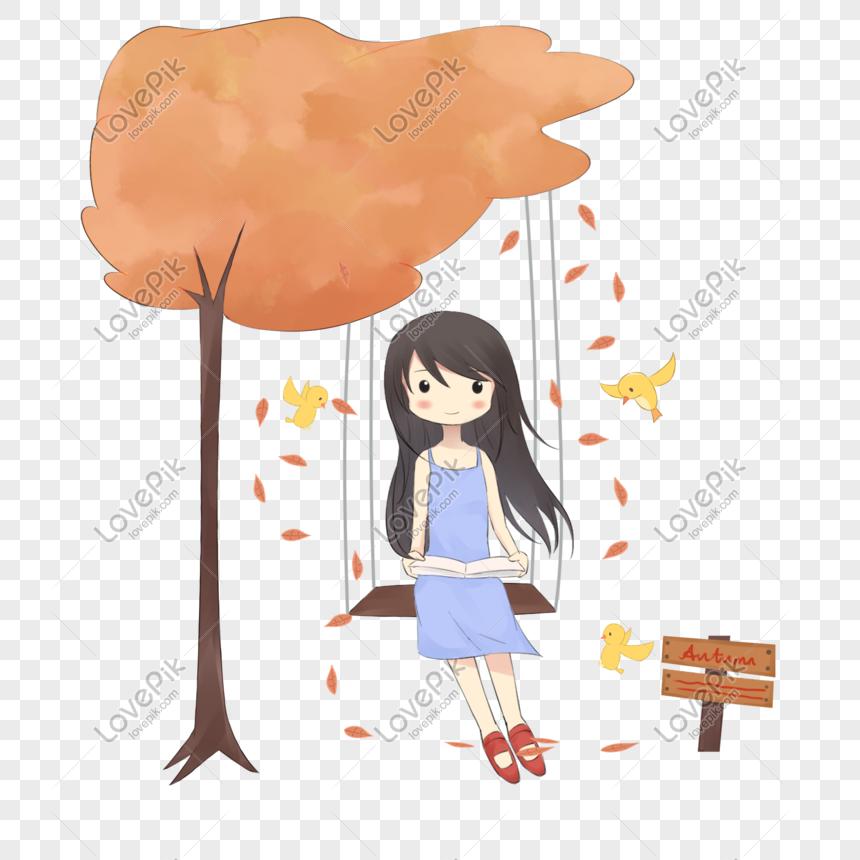 Ilustracao De Balanco De Sopa De Menina De Outono Dos Desenhos A
